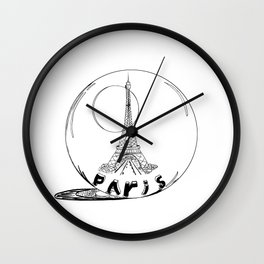 paris in a glass ball . Black-and-white . Artwork . Wall Clock
