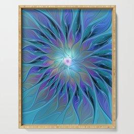 Decorative Blue Purple Turquoise Flower Fractal Art Serving Tray