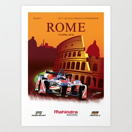 Mahindra Racing FIA Formula E Season 4 Rome E-Prix Poster Art Print