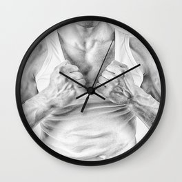 black and white Muscular man ripping t-shirt Wall Clock