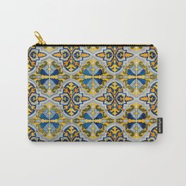 Seamless Floral Pattern Ornamental Tile Design : 4 -blue, Carry-All Pouch