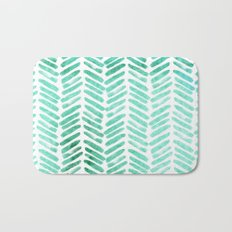 Handpainted Chevron pattern - light green and aqua - stripes #Society6 Bath Mat
