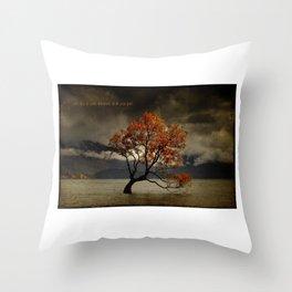 Lone Tree Of Lake Wanaka, New Zealand Throw Pillow