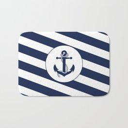 Nautical Anchor Navy Blue & White Stripes Beach Bath Mat