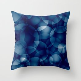 Dark intersecting translucent sea circles in bright colors with a blue glow. Throw Pillow