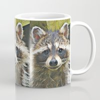 racoon Mugs featuring Little Racoon by Gene S Morgan