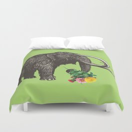 A Mammoth in Love - Lime Duvet Cover