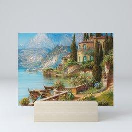 Lakeside Flower Garden Landscape Painting, Lake Como, Italy Mini Art Print