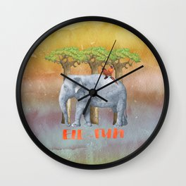 ELE FUN - Elephant Elephants Africa Watercolor Illustration Wall Clock