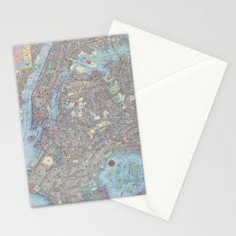 1956 Vintage Map of Greater New York City Stationery Cards