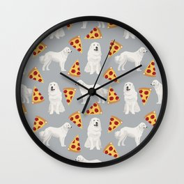 Great Pyrenees pizza dog portrait custom dog breed art print dog person gifts for christmas Wall Clock