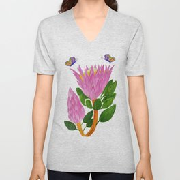 Protea bloom and bud Unisex V-Neck