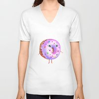 donut V-neck T-shirts featuring Donut by Zaksheuskaya