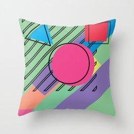 90s Retro Colored Shapes v4 Throw Pillow