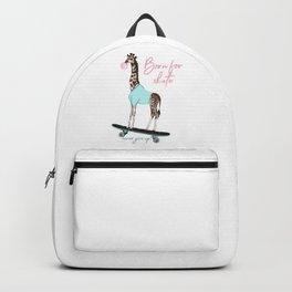 Fashion hipster vector illustration with giraffe on skateboard, born for skate, creative print Backpack