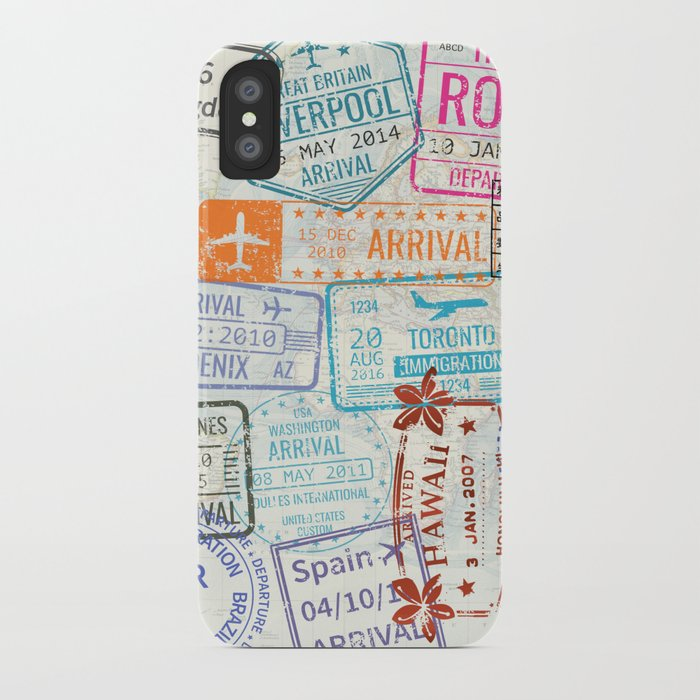 vintage world map with passport stamps iphone case