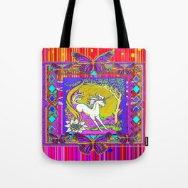 Chromatic  Dancing Unicorn Floral Abstract Tote Bag