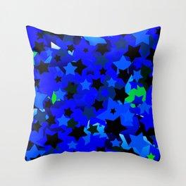 Punk Rock Stars Blue Throw Pillow