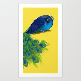 The Beauty That Sleeps - Vertical Peacock Painting Art Print