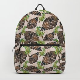 Watercolor Pine Cone Pattern Backpack