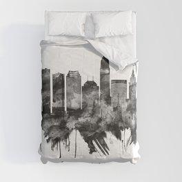 Cleveland Ohio Skyline BW Comforters