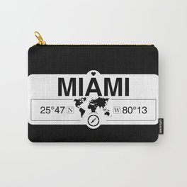 Miami Florida Map GPS Coordinates Artwork with Compass Carry-All Pouch