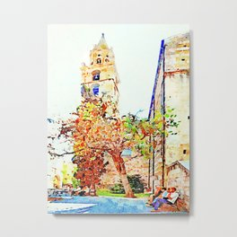 Teramo: seniors sitting on the bench under a tree and the bell tower Metal Print