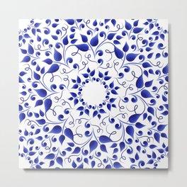 Pattern of blue leaves Metal Print