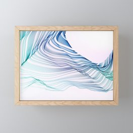 Etherial Wave - blue, mint and pale pink on white Framed Mini Art Print