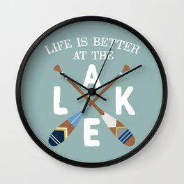 Life Is Better At The LAKE Painted Paddles Wall Clock