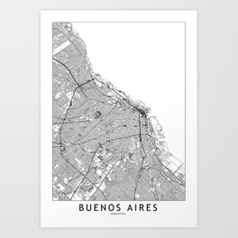 Buenos Aires White Map Art Print