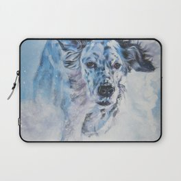 English Setter in Snow dog art from an original painting by L.A.Shepard Laptop Sleeve