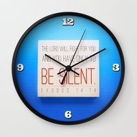 silent hill Wall Clocks featuring SILENT by Peter Gross