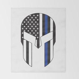Gladiator Helmet American Flag Thin Blue Line Throw Blanket