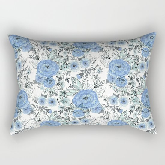 Watercolor . Sky-blue flowers . Rectangular Pillow
