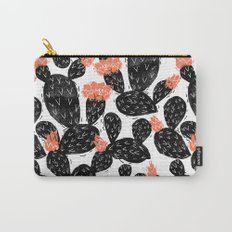 Cactus linocut black and white minimal art hipster decor botanical trendy desert Carry-All Pouch