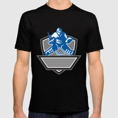 Ice Hockey Goalie Crest Retro MEDIUM Black Mens Fitted Tee