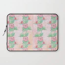 Tropical flowers and leaves watercolor Laptop Sleeve