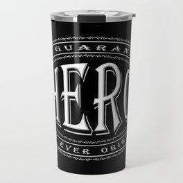 100% Hero (white 3D effect badge on black) Travel Mug