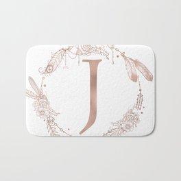 Letter J Rose Gold Pink Initial Monogram Bath Mat