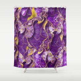 Amethyst  with gold marbled texture Shower Curtain
