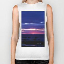 Purple Sunset over Sea Biker Tank