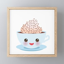 Cute blue Kawai cup, coffee with pink cheeks and winking eyes Framed Mini Art Print