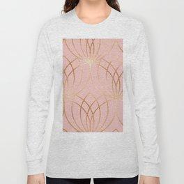 Rose gold millennial pink blooms Long Sleeve T-shirt
