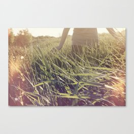 Playing in wheat Fields Canvas Print