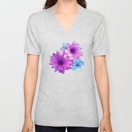 Dark pink and blue floral pattern Unisex V-Neck
