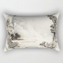 Ornamental marine cartouche during the 19th century. Rectangular Pillow