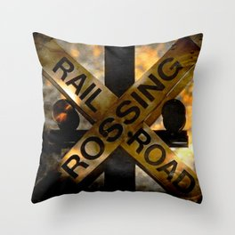 Railroad Crossing Throw Pillow
