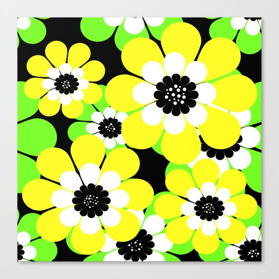 Yellow green bright floral pattern . Canvas Print