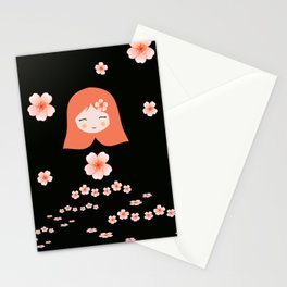 Russian Matryoshka Doll Girl Deconstructed with Flowers Stationery Cards